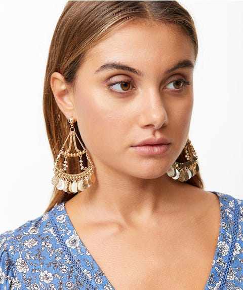 STATEMENT BEADED & SHELL BASKET EARRINGS