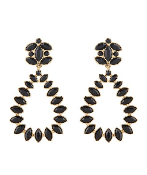 BLACK & GOLD JEWEL TEARDROP EARRINGS