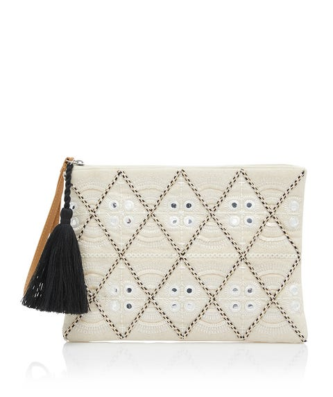 COLBY EMBROIDERED CLUTCH BAG