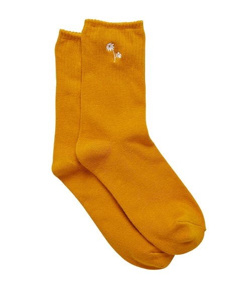 MUSTARD FLORAL EMBROIDERY CREW SOCK