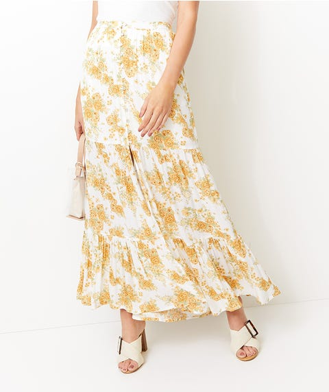 FLORAL CRINKLE MAXI SKIRT