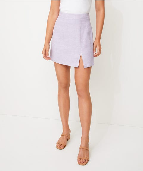 LINEN SPLIT FRONT MINI SKIRT