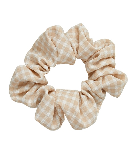 NATURAL GINGHAM SCUNCHIE