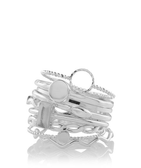 SILVER MIXED SHAPE STELLA RING PACK