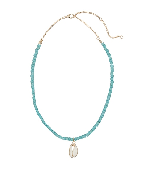 TURQUOISE BEADS & COWRIE SHELL PENDANT NECKLACE