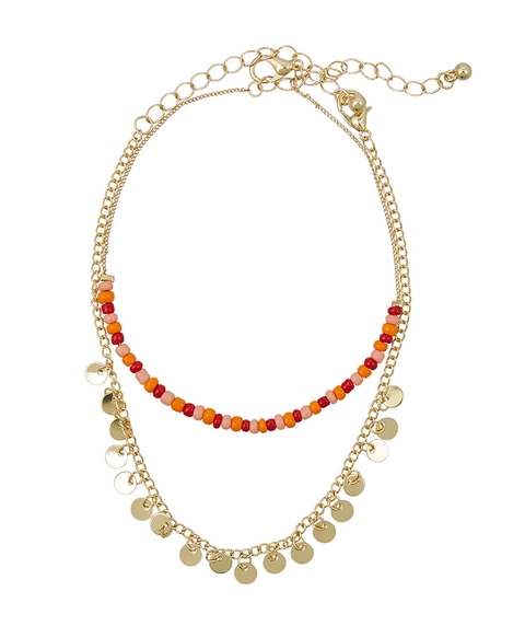 GOLD MIXED BEAD & CHAIN ANKLET PACK