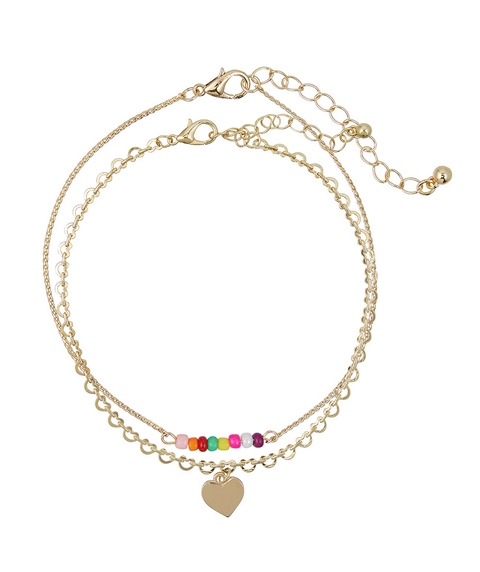HEART CHARM & BEAD ANKLET PACK