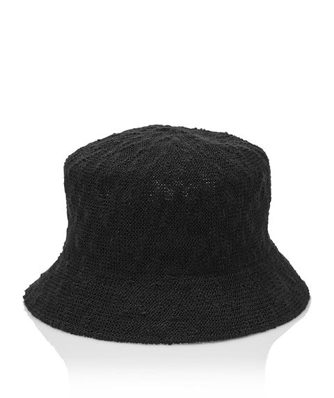 BLACK TEXTURED BUCKET HAT