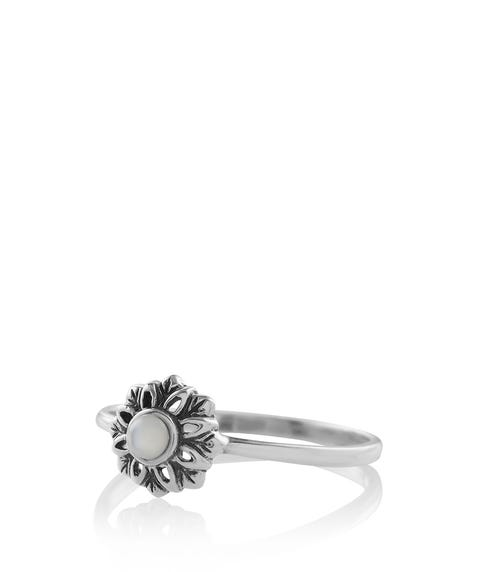 SS FLOWER & STONE RING
