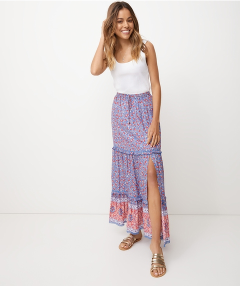 TIERED MAXI LACE INSERT SKIRT