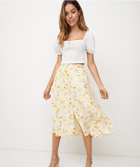 BUTTON FRONT CREPE MIDI SKIRT