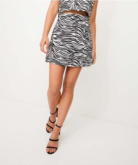 ZEBRA LINEN ALINE MINI SKIRT