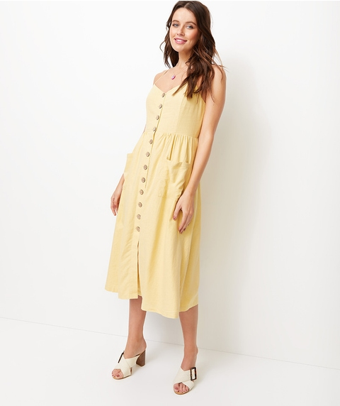 LINEN BUTTON FRONT MIDI DRESS