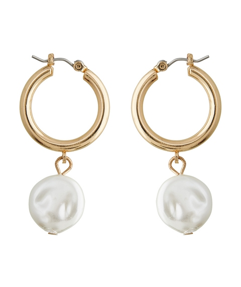 FLAT PEARL HOOP EARRINGS