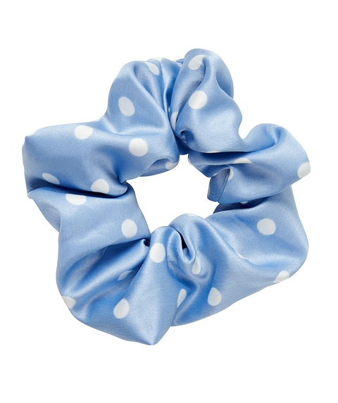 BLUE SATIN POLKA DOT SCRUNCHIE