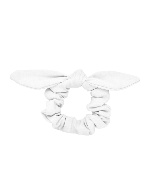 WHITE LINEN BOW SCRUNCHIE