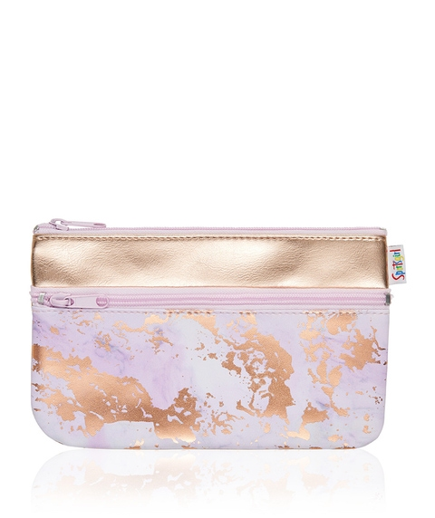 MOLLY MARBLE DOUBLE ZIPPER BEAUTY BAG