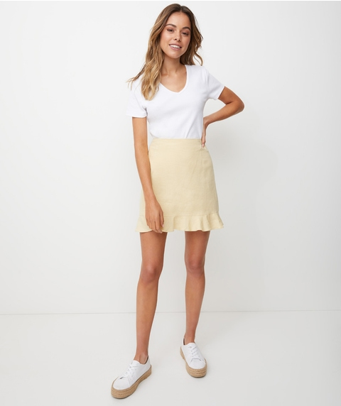 LINEN FRILL HEM MINI SKIRT