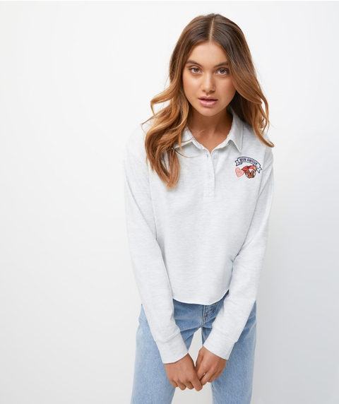 EMBROIDERED POLO SWEAT TOP
