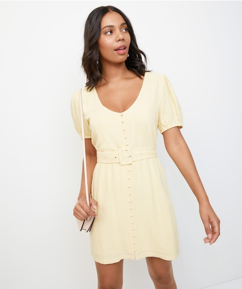 BELTED LINEN BLEND MINI DRESS