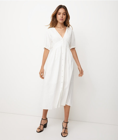 PUFF SLV LINEN BUTTON MIDI DRESS