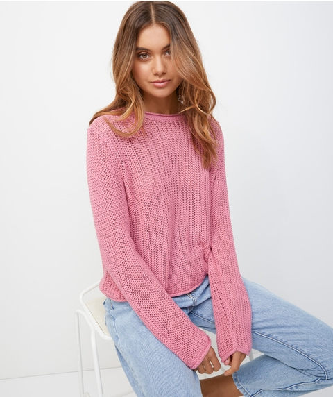 STITCH INTEREST CROP JUMPER
