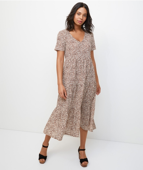 OCELOT TIERED MIDI DRESS