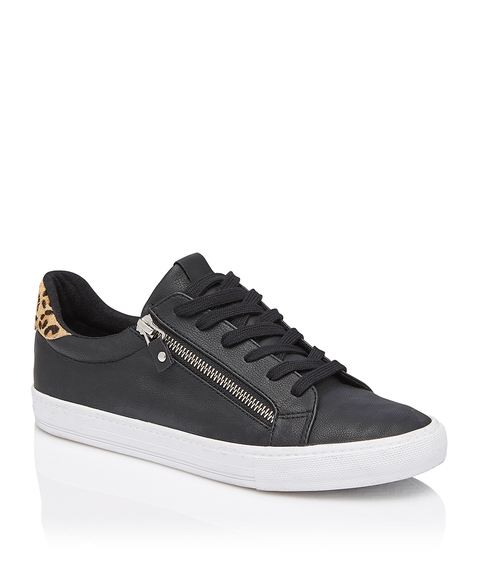 TIFFY LEOPARD SPLICED ZIP SNEAKER