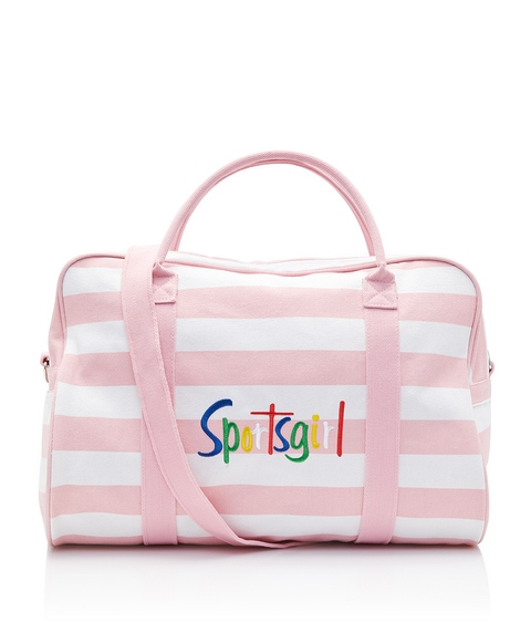 WASHED PINK STRIPE DUFFLE BAG