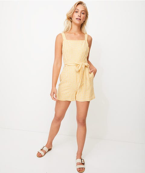 SQUARE NECK GINGHAM PLAYSUIT