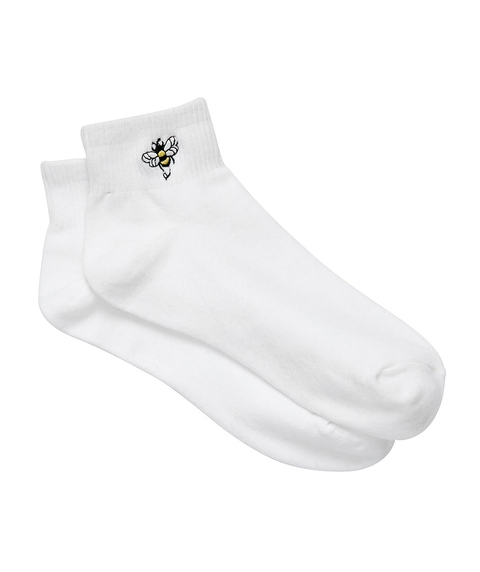 BEE EMBROIDERY RIBBED ANKLE SOCK
