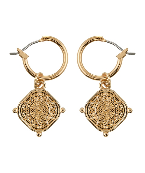 GOLD DETAILED COIN MINI HOOP EARRING