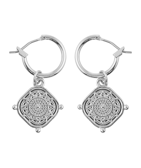 SILVER DETAILED COIN MINI HOOP EARRING