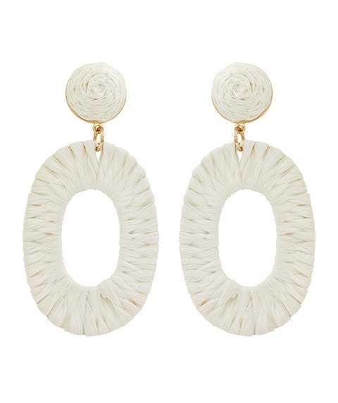 IVORY OVAL WRAPPED EARRINGS