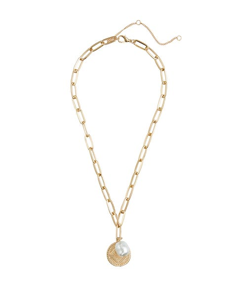 COIN & PEARL PENDANT NECKLACE