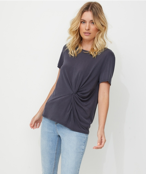 KNOT FRONT LUXE TEE