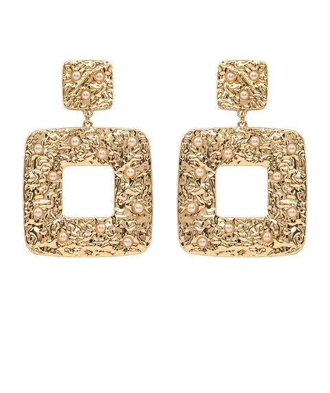 PEARL TEXTURED STATEMENT EARRING