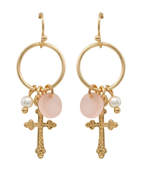 GOLD CROSS & CHARM DANGLE EARRING