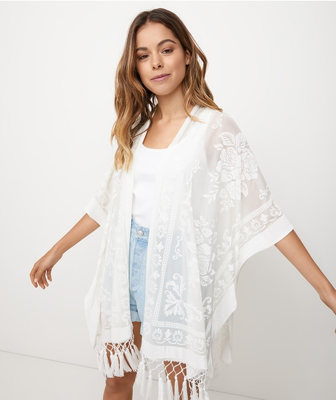 WHITE BURNOUT KAFTAN