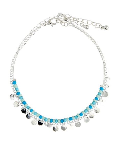 SILVER MIXED BEAD & CHAIN ANKLET PACK