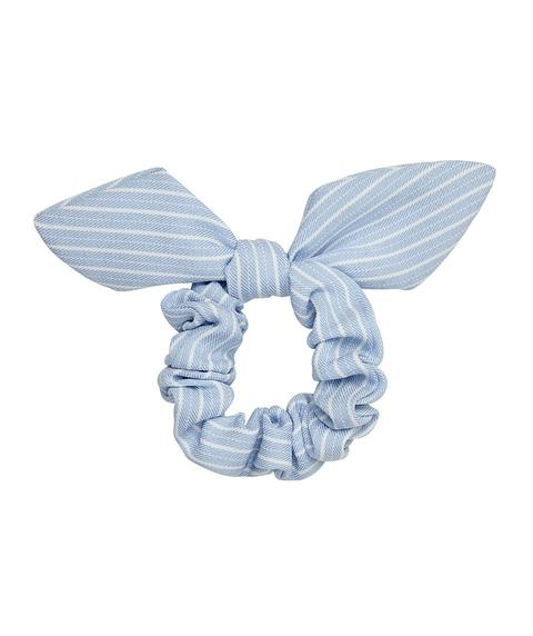 BLUE & WHITE STRIPE BOW SCRUNCHIE