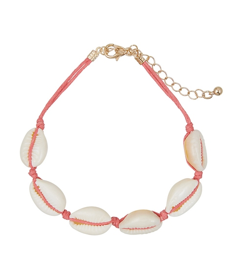 CORAL THREAD & COWRIE SHELL ANKLET