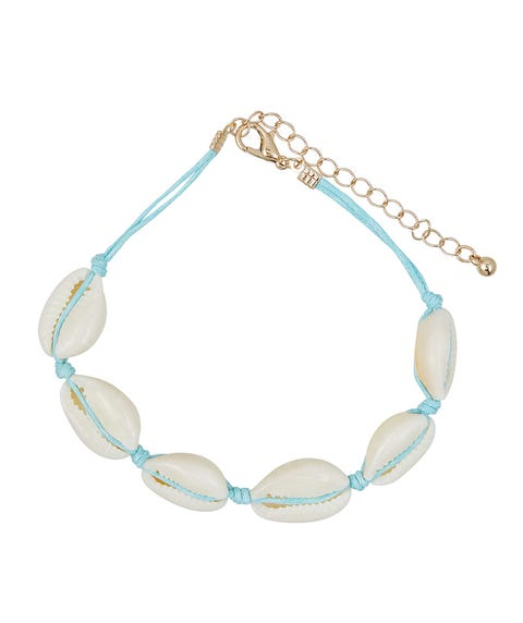 BLUE THREAD & COWRIE SHELL ANKLET