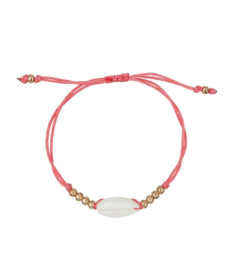 CORAL COWRIE SHELL & BEAD BRACELET