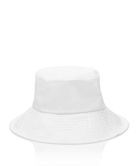 WHITE LINEN BUCKET HAT