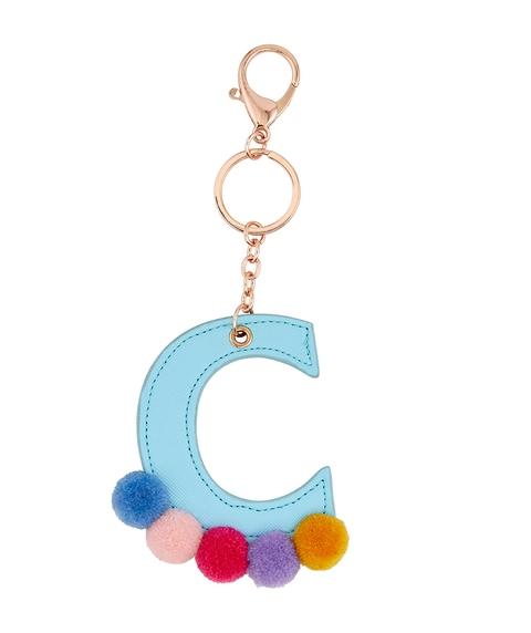 BLUE ALPHABET & POM POM KEYRING A, M, S, C, J