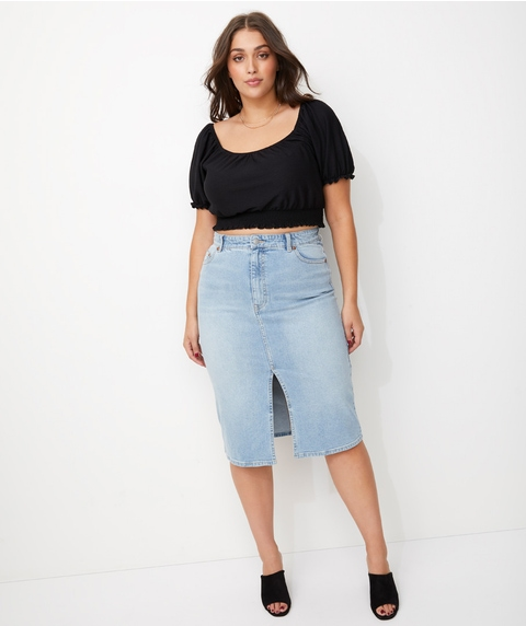 SPLIT FRONT DENIM MIDI SKIRT