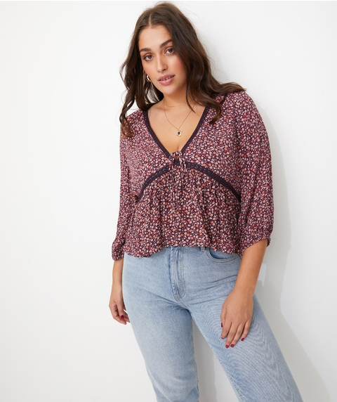 LACE TRIM PRINTED BLOUSE