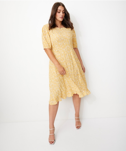 PUFF SLV FRILL HEM MIDI DRESS