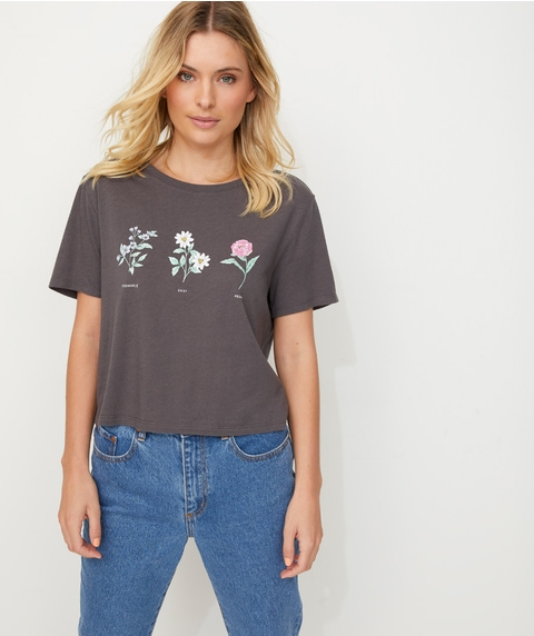 CROPPED WASHED FLORAL TEE